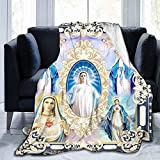 Ultra Soft Virgin Mary Blanket Lightweight Microfiber Plush Our Lady of Guadalupe Flannel Blanket All Seasons Warm Cozy Fuzzy Throw for Sofa Couch Bedding Living Room (Virgin Mary, 51''x 59'')