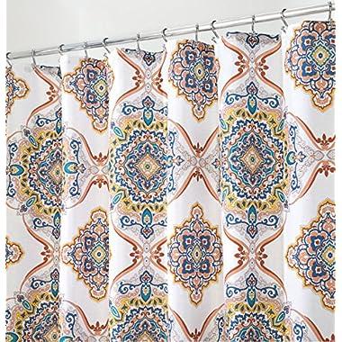 mDesign Indian Medallion Fabric Shower Curtain - 72  x 72 , Spice Multi