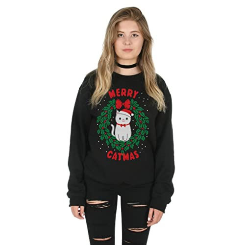 dc3f4d66b1 Sanfran - Merry Catmas Top Fashion Christmas Slogan Xmas Meowy Funny Crazy Cat  Lady Jumper Sweater