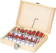 KKmoon 15 UNIDS Fresa Set,8mm Shank Mill Carpintería Herramienta de Cortadores Madera, para Piso Hecho A Mano Grabado de Corte (15 UNIDS)