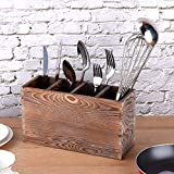 Rustic Utensil Caddy, 4 Adjustable Compartments Wooden Silverware Caddy, Upgraded Version kitchen Utensil Holders for Countertop