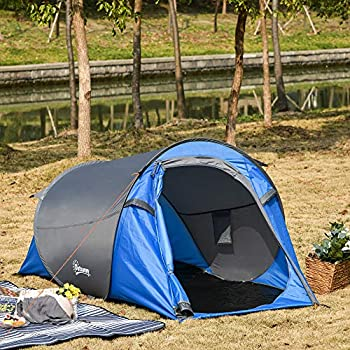 Outsunny Tente Pop up Montage instantané - Tente de Camping 2 pers. - 1 Porte + 2 fenêtres - dim. 2,2L x 1,08l x 1,1H m - Fibre Verre Polyester Bleu Gris