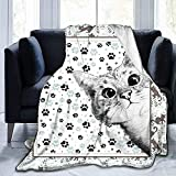 Cute Cat Blanket Kids Throw Blanket Animals Pet Themed Flannel Blanket with Cats on It Lightweight Soft Cozy Bed Chair Blanket for Cat Lovers (Style A, 51''x 59'')