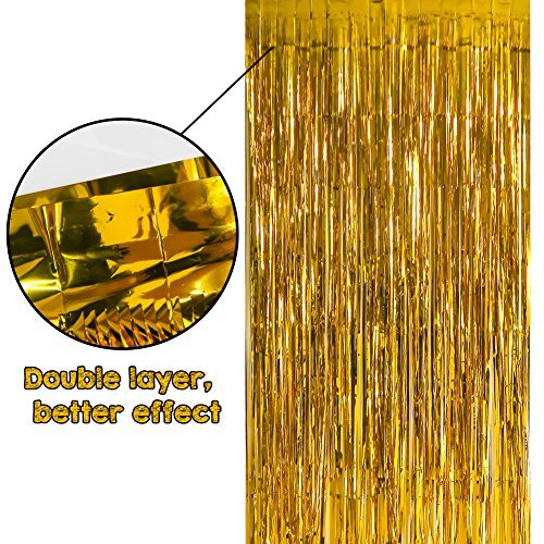 TOAOB 2 Pack 3.2 ft x 9.8 ft Gold Metallic Tinsel Foil Fringe Curtains Photo Booth Backdrop Fun for Christmas New Years Eve Party Decorations Birthday Bachelorette Parties Wedding Decor