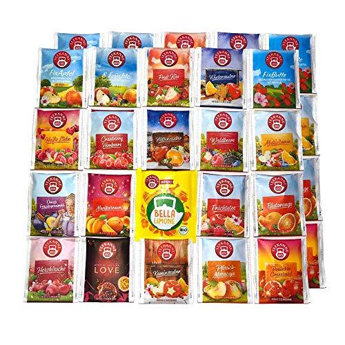 Teebeutel Sortiment - 40 Stück - Perfekte Vielfalt - Früchtetee, Blutorange, Waldbeeren, Herzkirsche Tee und mehr ...