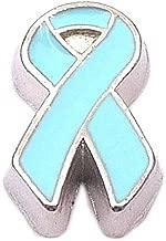 Light Blue Ribbon Floating Locket Charm