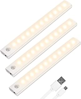Vicloon Iluminacion Luz sin cables Portatil, 3 Pc Luz Armario con Sensor de Movimiento con Auto en/Apagado/Siempre en, USB Recargable LED Armario con 2 Tiras Magnéticas, para Escalera, Coina
