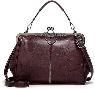 خمر قبلة قفل حقائب للمرأة النفط الجلد مسائي كلاتش حقيبة حمل