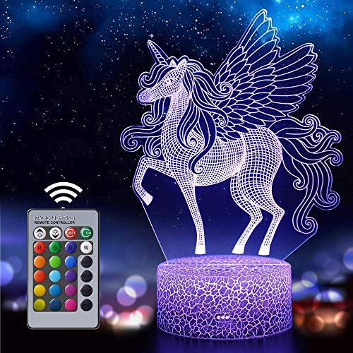 Unicornio 3D luz nocturna para niños, unicornio 3D ilusión al lado de la lámpara de mesa con 16 colores cambiantes y mando a distancia, regalo de unicornio, regalo para niños de 7 6 5 4 3