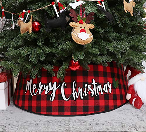 S-DEAL Buffalo Plaid Christmas Tree Collar Top 23Inch Bottom 30Inch Christmas Tree Skirt Tree Ring Self-Assemble Tree Ring for Xmas Holiday Decorations (Red and Black)