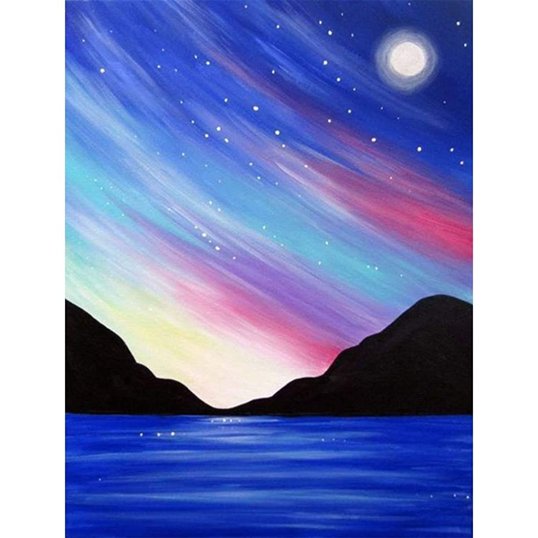 DIY 5D Diamond Painting by Number Kits, Crystal Rhinestone Diamond Embroidery Paintings Pictures Arts Craft for Home Wall Decor,Colorful Starry Sky Mountain Lake Surface (J5268-11.8X15.7in)