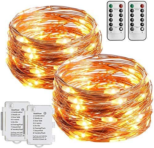 STARKER 2 Pack 16ft 50 LEDs Fairy Lights Battery Operated String Lights Outdoor Waterproof for Christmas ,Garden,Bedroom Decor Warm White?Remote and Timer)