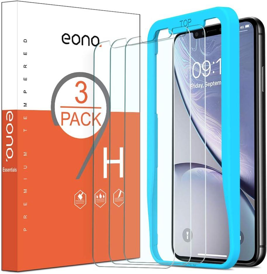 Amazon Brand – Eono [3 Stück] Schutzfolie kompitabel mit iPhone 12/12 Pro und iPhone 11/XR, 2.5D, 9H, Anti-Kratzen,Anti-Bläschen,Hülle…