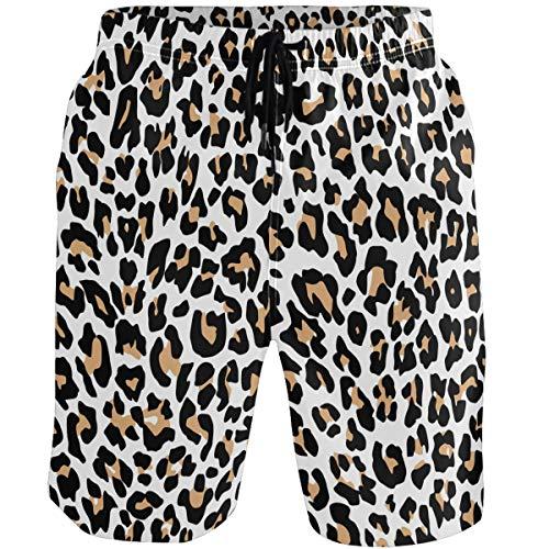 Kaariok Leopard Animal Skin Print Men's Swim Trunks Quick Dry Beach Shorts