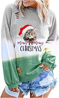 Womens Cute Cat Christmas hat Print Gradient Long Sleeve O Neck Shirt Pullover Tops