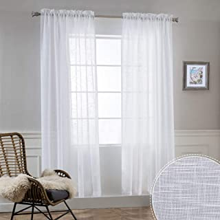 RYB HOME Semi Sheer Curtains - Linen Textured Sheer White Panels for Living Room, Privacy Protected Drapes for Bedroom Bathroom Kitchen Cafe, White, Width 52 inch x Length 72 inch, One Pair
