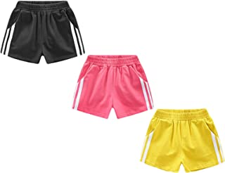 Allesgut Girls' Athletic Shorts 3 Pack Colorful Set for 3-10 Years