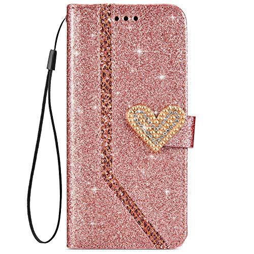 Qjuegad Compatibile con Huawei Mate 20 Lite Custodia Antiurto Glitter Strass Portafoglio Protettiva Custodia a Libro in Pelle Magnetica Protettiva Case con Funzione di Supporto, Oro Rosa
