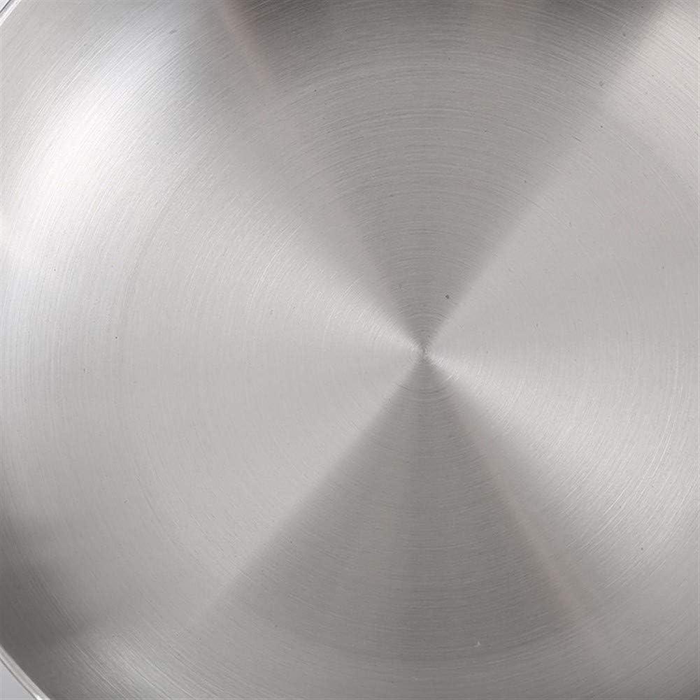 HEIFENGMUMA Crisp Wok en Acier en Acier Inoxydable Trois Couches gaz de Nouilles Pan Lnduction Cooker Steak à Fond Plat Universel Frying pan Uncoated Cuisinier (Color : 28cm) 24cm