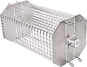 only fire Universal Octagonal Tumble & Flat Basket Rotisserie Grill Spit Rod Basket Fits for Any Grill