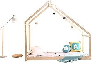 Bestmart INC Children Toddler Bed Twin House Bed Frame Kids Floor Bed Children Bedroom Furniture, Premium Wood & SGS Certified Paint, Baby Safe