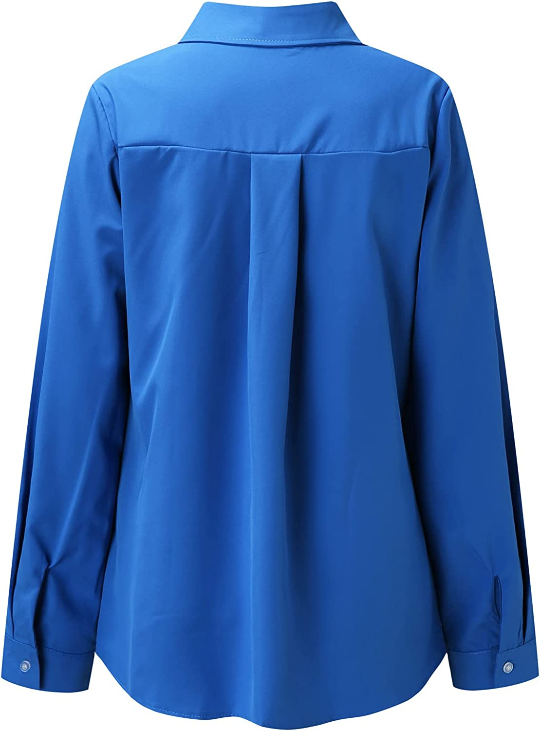 BEIBEIA Long Sleeve Tops for Women Winter,Long Sleeve Solid Color Button Turn-Down Collar Shirts Blouses Tops