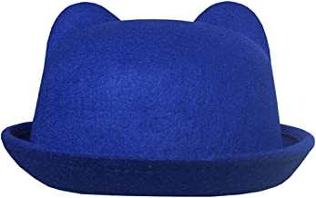 Lujuny Cat Ear Wool Bowler Hats - Cute Derby Fedora Caps with Roll-up Brim for Women Youth (Blue)