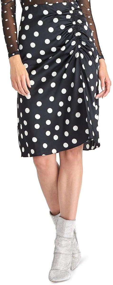 Rachel Roy Womens Black Polka Dot Maxi Pleated Skirt Size 0