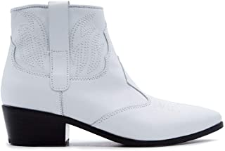 JANET&JANET Women's 43055BIANCO White Leather Ankle Boots