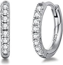 Hoop Earrings White Gold Plated Sterling Silver Huggie Stud CZ Cubic Zirconia Small Hoop Earrings Second Hole Hinged Carti...