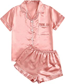 SheIn Women's 2 Pieces Button Down Solid Satin Sleepwear Shorts Pajama Set