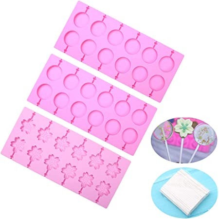 100pcs Gold Ties for Halloween Christmas Parties 4 Pack 50pcs Lollipop Bags IHUIXINHE Silicone Lollipop Molds Ice Cube 12 Capacity Round Trays /& Cherry Blossoms /& Paw /& MT Hard Candy Molds Chocolate Mold Cookies Baking with 80pcs Lollipop Sticks