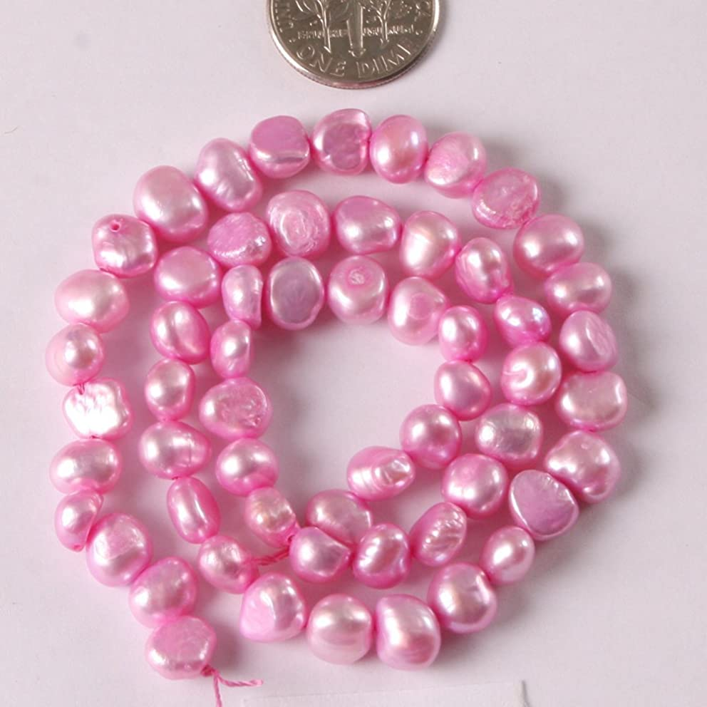 Freshwater Cultured Pearl Beads for Jewelry Making Gemstone Semi Precious 6-7mm Freeform Pink 15