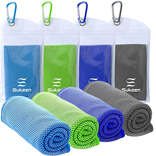 """Cooling Towel(40""""x12"""") Microfiber Towel Yoga Towel for Men or Women Ice Cold Towels for Yoga Gym Travel Camping Golf Football & Outdoor Sports (4pack-Blue/Green/Dark Blue/Dark Gray)"""