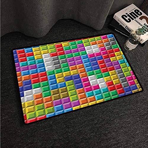 Balance-Life Videospiele, Bunte Retro-Gaming-Computer-Ziegelblöcke Bild-Puzzle Digitales 90er-Jahre-Spiel, Teppich aus Naturfaser