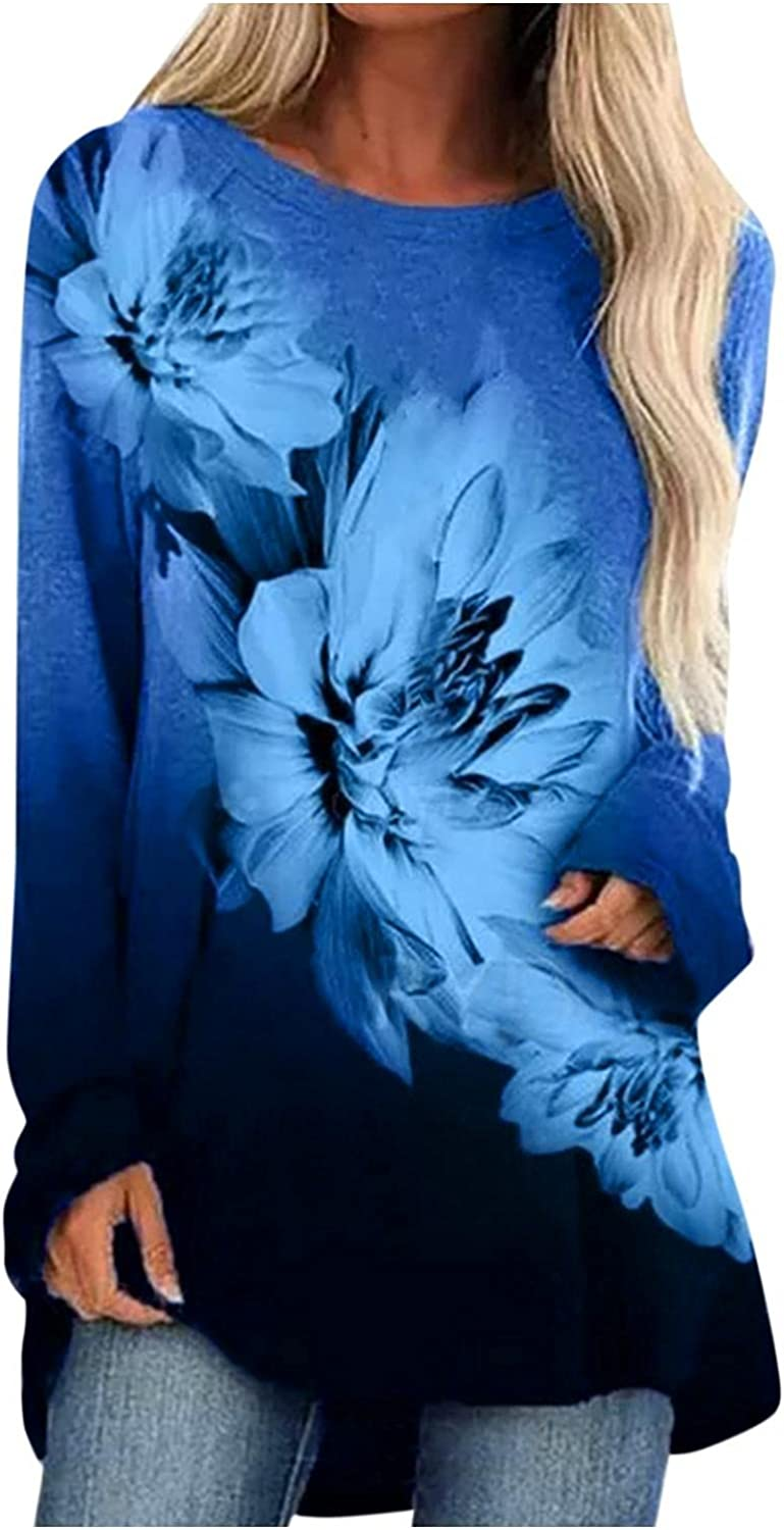Women Hoodies Pullover, Long Sleeve Trendy Crewneck Floral Pullover Top Loose Cute Graphic Shirts Blouses