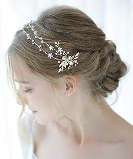 FXmimior - Cerchietto per capelli da sposa, con perle e cristalli e strass, accessorio per capelli per balli studenteschi...