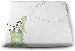 YETSH Chair Pads Square 16 x 16 Inch Girl and Dog Sitting On Dinosaur Memory Foam Seat Cushion Seat Pads for Office/Car/Dining Chair