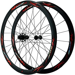 40mm 700Cアルミニウム合金ホイールセットクイックリリース20/24穴自転車ホイール(フロント+リア)ロードバイクリムC/Vブレーキ(7 8 9 10 11 12スピード用) (Color : Red, Size : 700C)