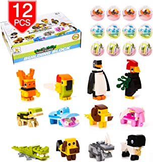 PROLOSO Animal Kingdom Building Blocks Easter Eggs Party Favors Educational Toys Kids Prizes 12 Pack