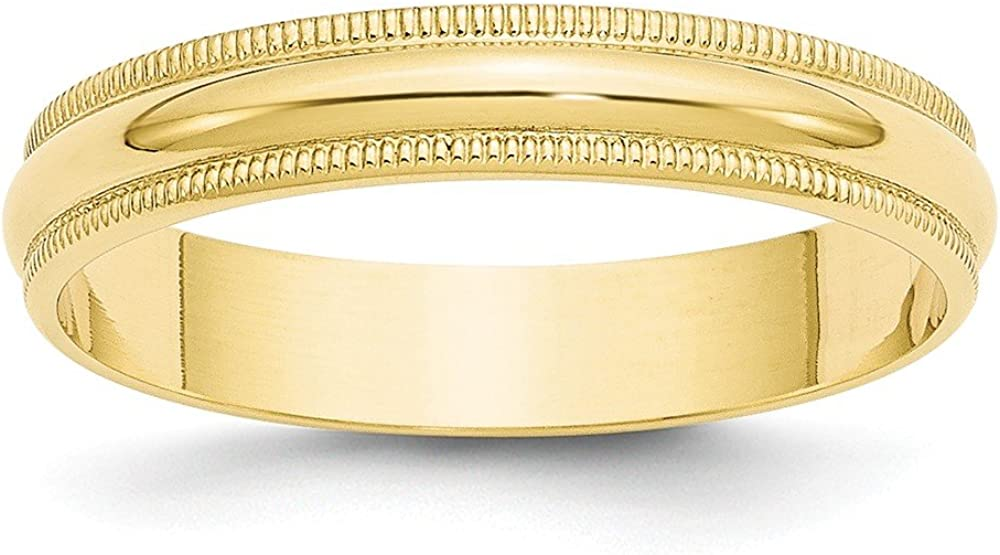 10k Yellow Gold 4mm Milgrain Half Round Wedding Ring Band Size 10.5 Classic Fine Jewelry For Women Gifts For Her