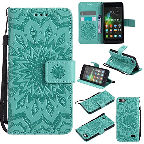 Nancen Compatible with Handyhülle Huawei Honor 4C Hülle,Huawei G Play Mini/Honor 4C (5 Zoll) Leder Wallet Tasche Brieftasche Schutzhülle, Prägung Sonnenblume Muster