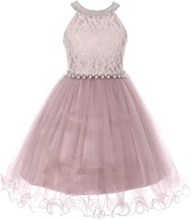 5a5e79973 Cinderella Couture Big Girls Dusty Rose Halter Neck Satin Pearl Belt Wire  Hem Easter Dress 8