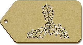 Azeeda 10 x Large 'Christmas Holly' Wooden Gift Tags (TG00016473)