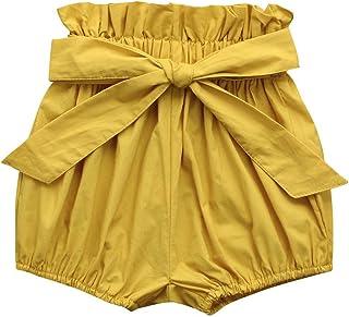 comprar comparacion Pantalones Bebés, LANSKIRT Ropa Bebés Niñas Color Sólido Imprimiendo Cuadros Arco Pantalones Cortos de Polainas