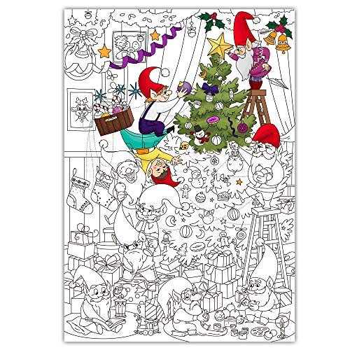 O'Kroshka Giant Coloring Poster Christmas Tree – 38.5' X 26.7'. Coloring Pages for Kids and Adults. Color me Posters for Family.