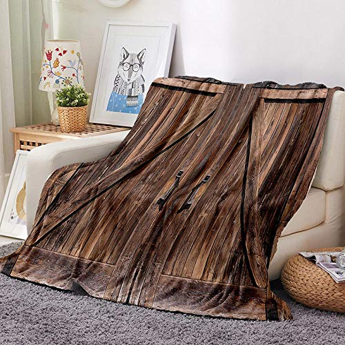 Throw Sofa Bed Blanket Soft Fleece Flannel Dilapidated Wooden Door Super Warm Cosy Lovely Fluffy Adult Bed Blanket Couch Throws for Living Room Bedroom, Double Size (150 x 200 cm), 100% Polyester