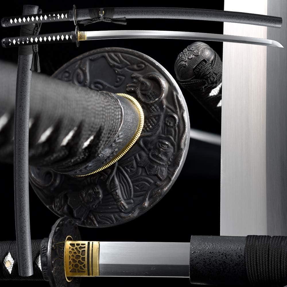 Manufacturer regenerated product Full Handmade Katana Japanese Samurai Battle Tang Sword Courier shipping free shipping Rea