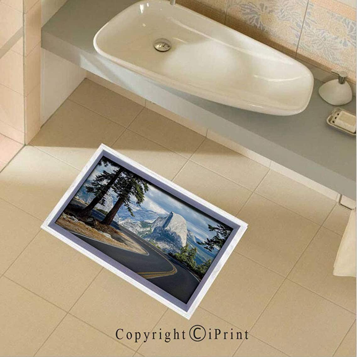 Removable DIY Floor Stickers Decor Stunning Landscape Picture of a Winding Road in the Yosemite Mountains With El Capitan for Home Walls Floor Ceiling Kids Nursery Room Boy Girls Bedroom Bathroom Liv