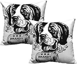 Acelik Man Cave Decor Soft Microfiber Pillowcase Set Sketch of Saint Bernard Rolling a Keg of Brandy Whiskey Stars Retro Velvet Soft Soild Decorative 24
